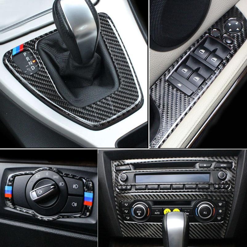 Carbon Fiber For BMW 3 Series E90 E92 E93 Interior Gearshift Air Conditioning CD Panel Door Armrest Cover Trim Sticker Accessory