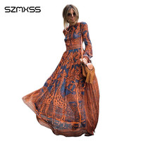 Summer Maxi Dress New Elegant Women Casual Long Dresses Long Sleeve Giraffe Printing Fashion Summer Party
