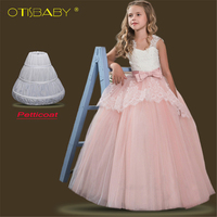 acd1086c543951 New Christmas Party Teen Girls Pageant Pink Lace Wedding Dresses Flowers  Elegant Princess Gowns Children Sleeveless