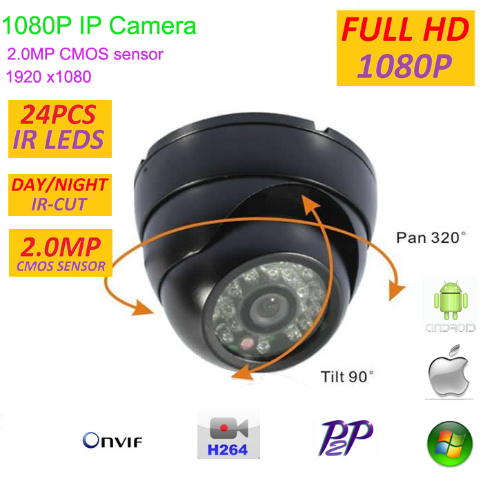 New type 1920*1080P 2.0MP Mini Dome 1080P IP Camera ONVIF 2.0 Indoor IR CUT Night Vision P2P  Android and ios Plug and Play, 4 in 1 ir high speed dome camera ahd tvi cvi cvbs 1080p output ir night vision 150m ptz dome camera with wiper