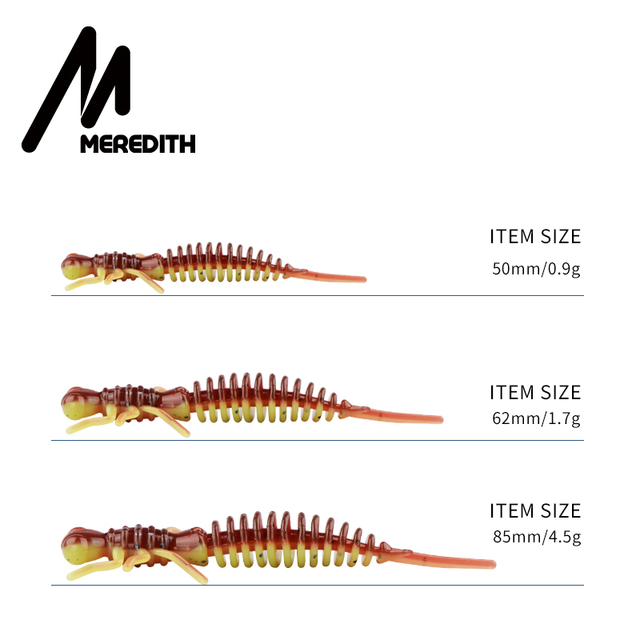 MEREDITH Larva Soft Lures 50mm 62mm 85mm Artificial Lures Fishing Worm Silicone Bass Pike Minnow Swimbait Jigging Plastic Baits 3