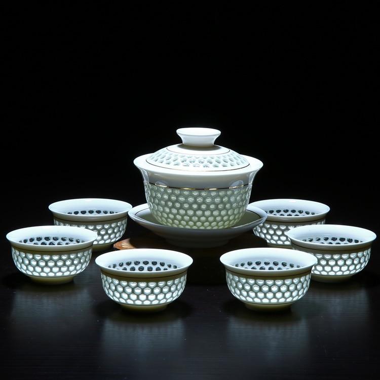 Hollow Honeycomb Gaiwan Gong Fu Tea Set 5