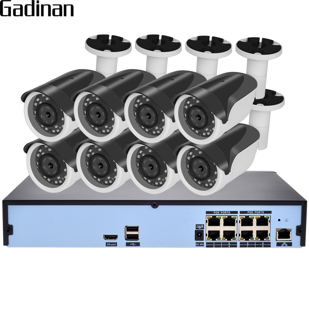 GADINAN H 265 8CH 5MP 48V Real PoE NVR CCTV System 8pcs 4MP 25FPS IP Camera