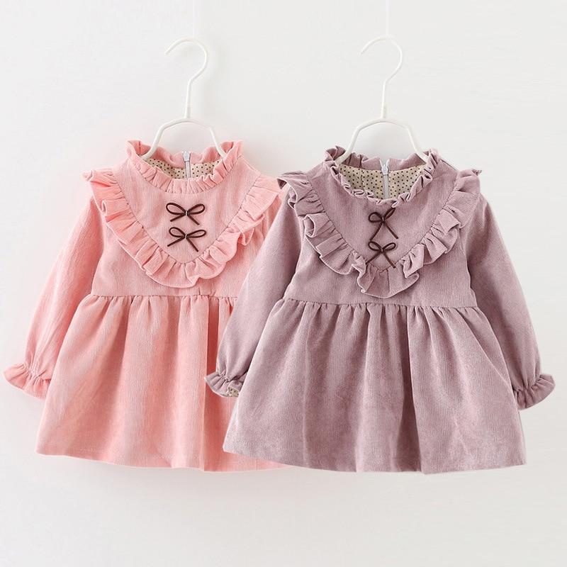 ФОТО Autumn/spring Little Girls Newborn Dress Cotton Baby Girl Clothes Princess Short Dresses Warm solid Crew Neck Children Clothing