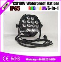 6 יח'\חבילה 6in1 RGBWAUV עמיד למים LED PAR 12X18 W אורות DJ במה המקצועי-באפקטי תאורה לבמה מתוך פנסים ותאורה באתר