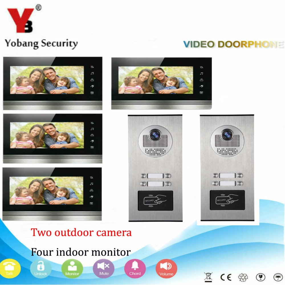 YobangSecurity 2x4 Apartment Wired Video Door Phone Intercom 7Inch Monitor IR Camera Video Doorbell Kit RFID Access Control yobangsecurity home security video door phone system 7inch video doorbell door intercom rfid access control 1 camera 4 monitor