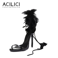 Summer Solid Color High Heel Feather Women Black Sandals Open Toe Fashion Luxury Thin Heel Party Ankle Strap Black Pumps