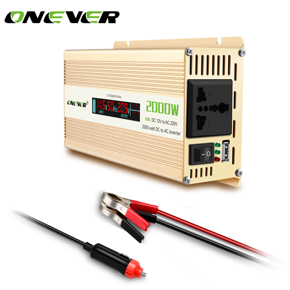 Onever 2000W Car Power LED Inverter Converter DC 12v to AC 220v 2 1A USB Ports
