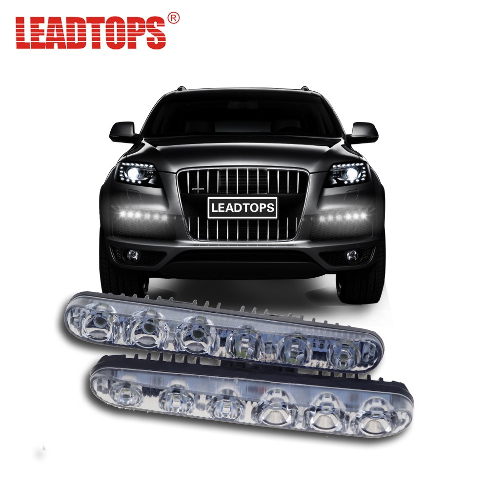 LEADTOPS Car Styling LED DRL Daytime Running Lights With Lens Beam Xenon White Driving Lamps Auto External 12V BJ car styling drl controlador auto car led daytime running dimmer on off 12 18 v fe7 2