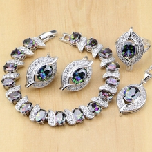 925 Sterling Silver Natural Mystic Rainbow Zircon Stone Jewelry Sets For Women Earrings/Pendant/Ring/Bracelet/Necklace Set jexxi gorgeous rainbow clear zircon wedding party jewelry sets women square 925 sterling silver pendant necklace earrings set
