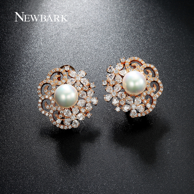 aa6dfa0cb NEWBARK Big Simulated Pearl Stud Earrings Flower Rose Gold Color Hollow  Earring Tiny CZ Jewelry For
