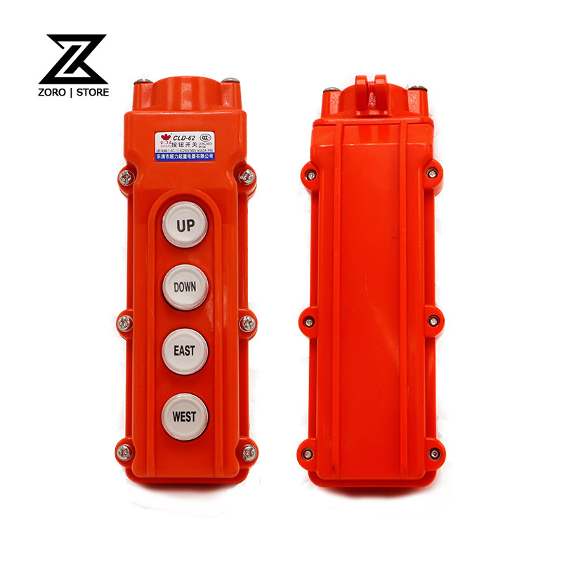 Silver Contact Waterproof Hoist Crane 4Ways UP/DOWN/EAST/WEST Directions CLD-62(COB-62) AC250/500V Pushbutton Swtich
