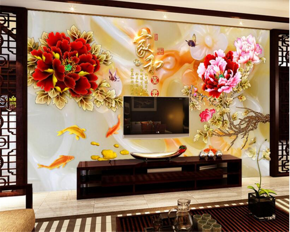 2019 Neuer Stil Beibehang Klassische Persönlichkeit Dekoration Wand Papier Farbe Carving Pfingstrose Neun Fisch Solide Jade Carving Hintergrund 3d Wallpaper