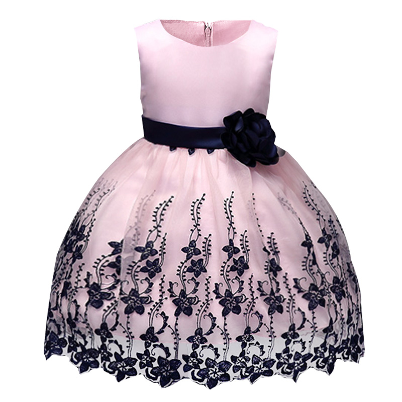 15 Floral Embroidered Bridal Dresses For A Summer Wedding: Retail Embroidery Black Flower Kid Girls Evening Prom