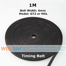1M High Quality GT2 MXL Timing Belt with Steel Wire Width 6mm Synchronous Belt Opening Teeth Belt For 3D Printer Accessories(China (Mainland))