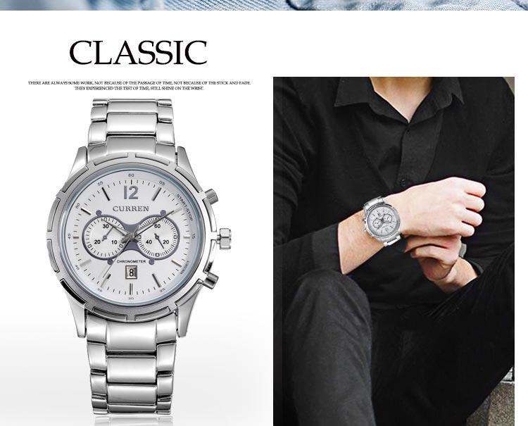 Curren Hodinky Curren 8045 celokovové - stříbrné s modrým ciferníkem ... 5967dbb0d09