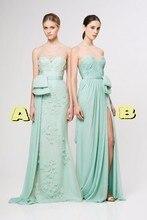 Mint Green Empire bridesmaid dresses Floor-Length Chiffon Sleeveless Strapless A-Line Off the Shoulder 2016 vestido madrinha