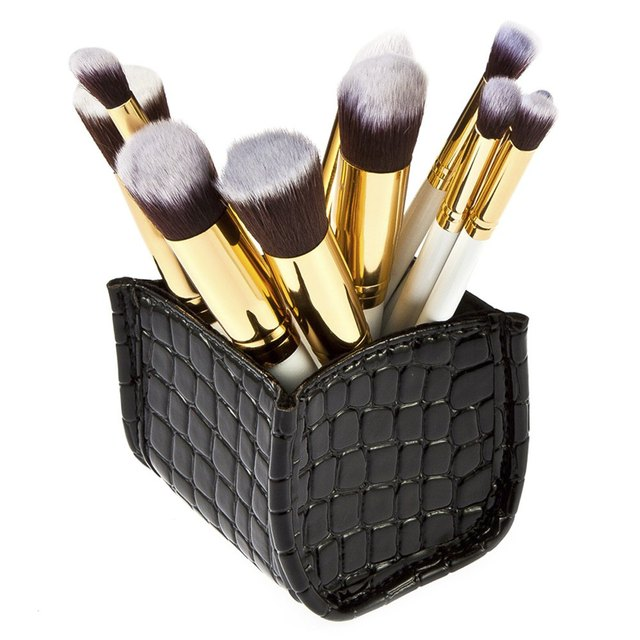 10 unids Nueva Moda de Productos de Belleza Señora de Herramienta Cepillos Cosmético Con la Caja de Almacenamiento de Maquillaje Sistemas de Cepillo de Grano Del Cocodrilo