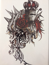 Knight And Red Rose 21 X 15 CM Temporary Tattoo Stickers Temporary Body Art Waterproof#55