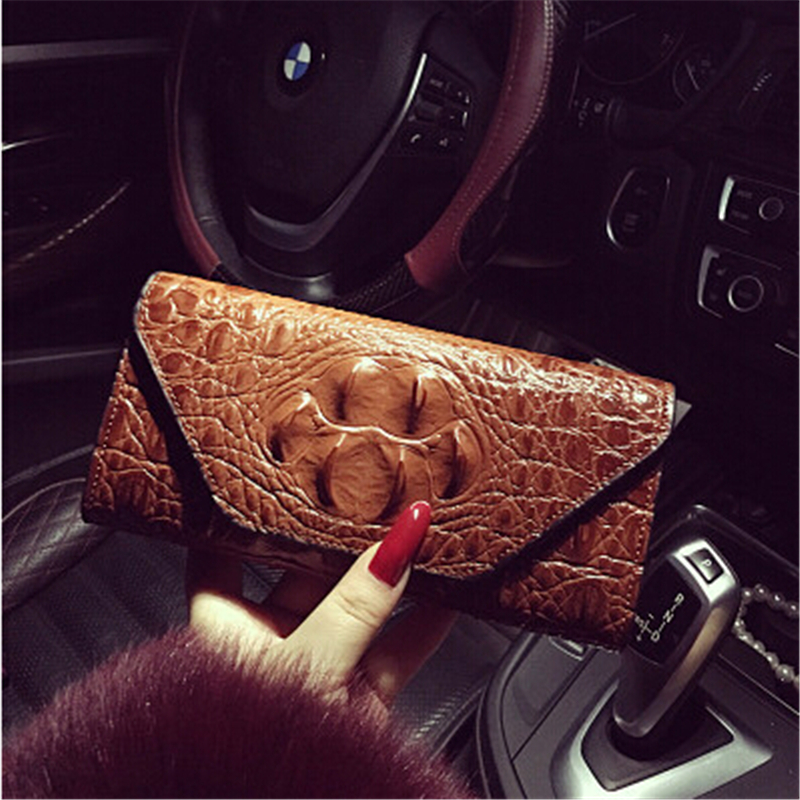 ФОТО Hot Sale Vintage Alligator Women Wallets Embossing Double Day Clutch Purse Wristlet Portefeuille Handbags Carteira Feminina