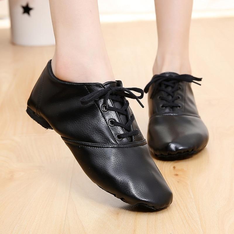 Tenåringer kvinners pu lær jazz dansesko snøre opp støvler praksis yoga sko myke lys jazz støvler barn hip hop joggesko
