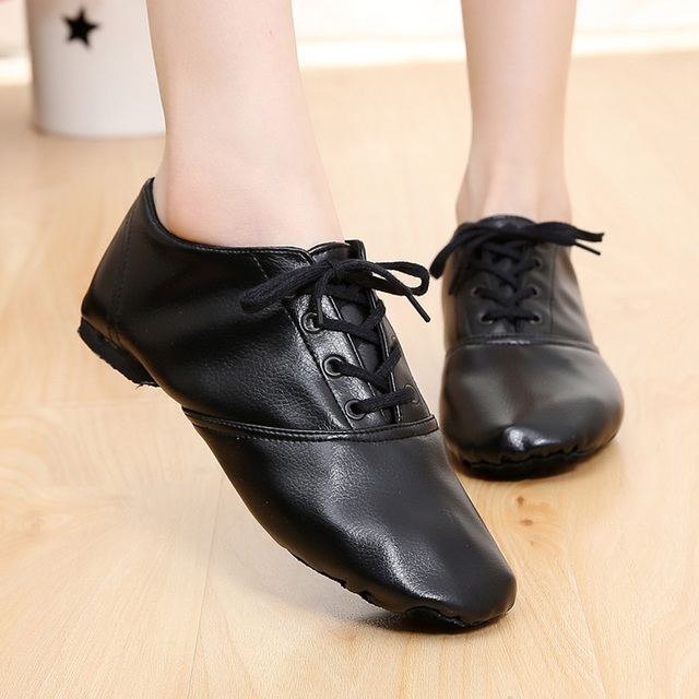 Teenagers Woman's PU Leather Jazz Dance Shoes Lace Up Boots Practice Yoga Shoes Soft  Light Jazz Boots Children Hip-hop Sneakers