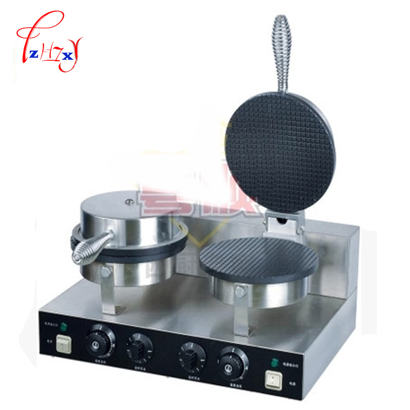 Commercial double head stainless steel Ice cream Cone Baker machine waffle cone egg roll making machine YU-2 220v 110v ce flat pan fried ice cream roll machine fried ice machine stainless steel freezing ice cream machine with glass cover