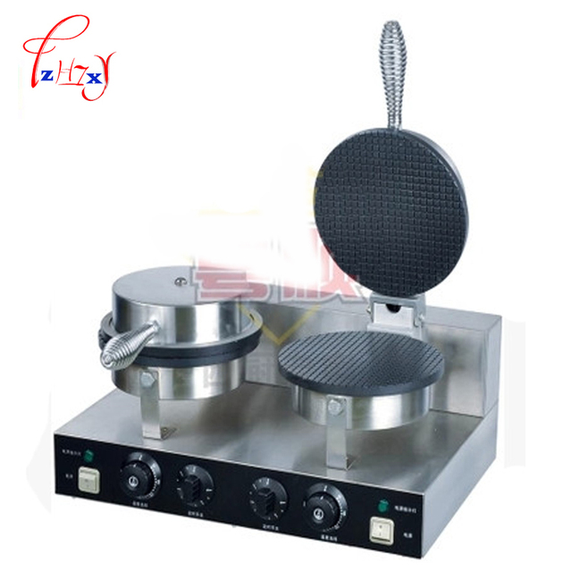 Commercial double head stainless steel Ice cream Cone Baker machine waffle cone egg roll making machine YU-2
