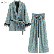 Women's suits 2019 New Arrival Blue Printed Kimono Jacket with Feather Sleeves Wide Leg pants two-piece Vintage Clothing Suits