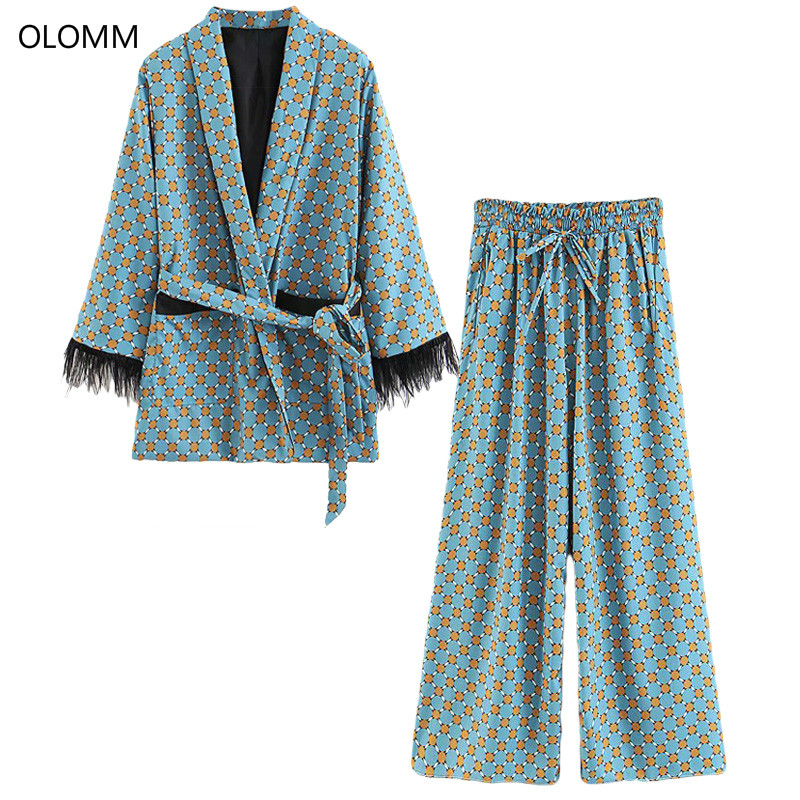Women's suit 2019 autumn new fashion women's casual print tassel decoration long suit jacket loose wide leg pants two-piece