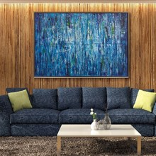 Handpainted Oil Painting On Canvas blue Color Abstract Modern Wall Art Living Room Decor wall picture art