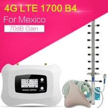4G 인터넷 신호 증폭기 1700/2100 4G LTE 1700MHz 이득 70dB 셀 신호 4G 휴대 전화 부스터 셀룰러 신호 중계기