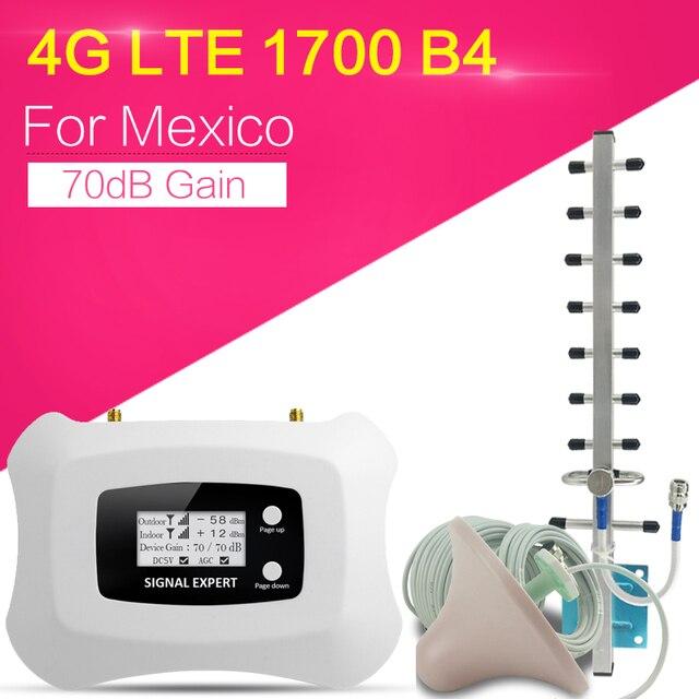 Amplificador de señal de Internet 4G, 1700/2100, 4G, LTE, 1700MHz de ganancia, 70dB, refuerzo de teléfono móvil, repetidor de señal móvil