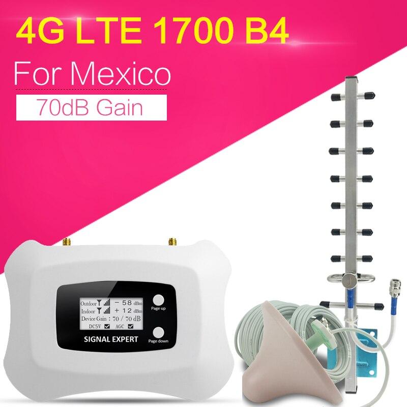 Amplificateur de Signal Internet 4G 1700/2100 4G LTE 1700 MHz Gain 70dB Signal cellulaire 4G répéteur de Signal cellulaire