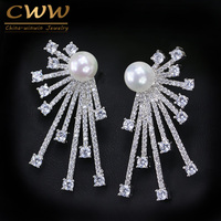 CWWZircons 2017 New Arrival Blooming Cubic Zirconia Paved Korean Fashion 925 Sterling Silver Pin Pearl Earring For Women CZ048