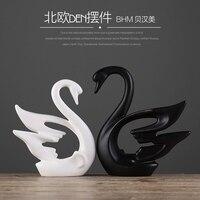 ceramic black Swan lovers home decor crafts room decoration handicraft ornament porcelain animal figurines wedding decorations