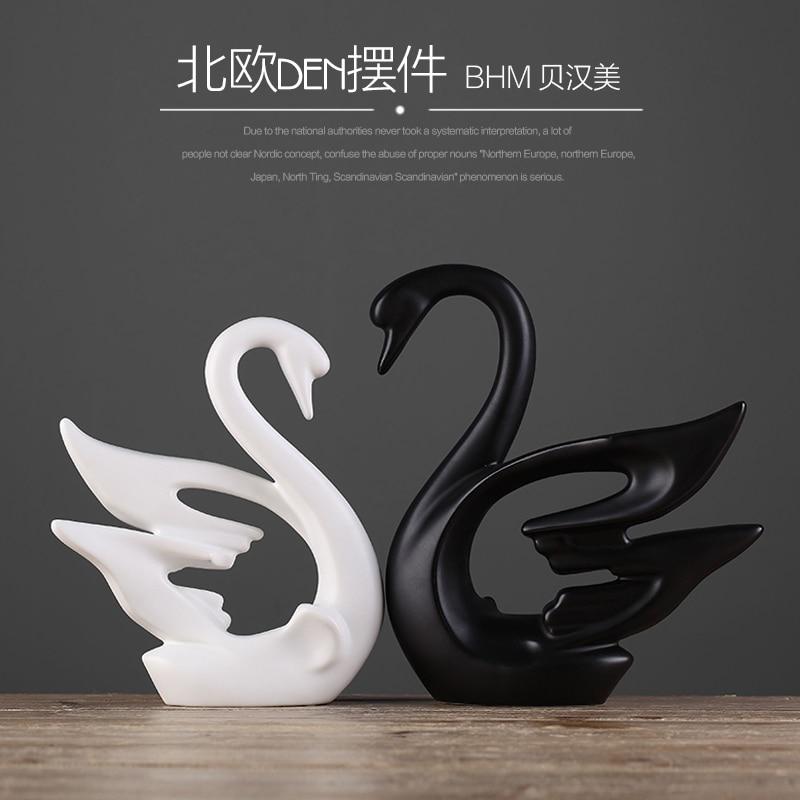 keramická černá milovníci labutí domácí výzdoba řemesla pokoj dekorace řemesla ornament porcelán zvířecí figurky svatební dekorace