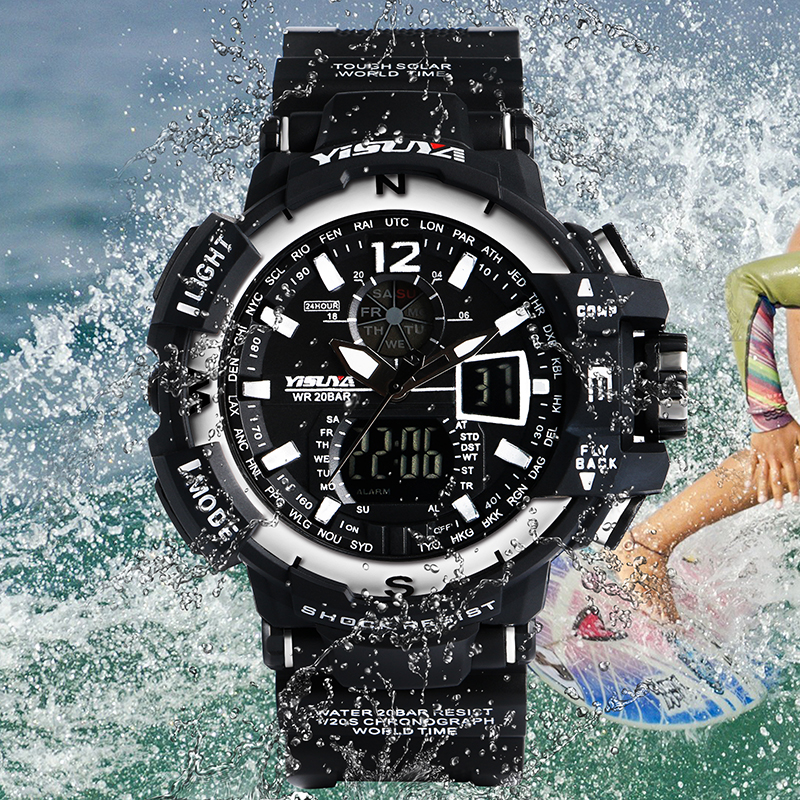 YISUYA 30 Meters LED Men Watch Waterproof Day-Date Chronograph Wristwatch with Japan Move Ourdoor Rubber Strap Relogio Masculino