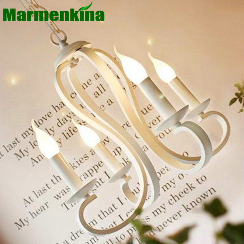 Mediterranean candle pendant lamp iron pendant light living room dining room bedroom study room indoor lighting E14 lamp hold wrought iron chandelier e14 3pcs led candle light white vintage rustic pendant lamp for home study room living room