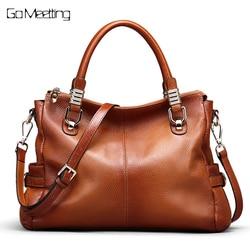 Go Meetting Genuine Leather Women Handbags Totes Vintage Big Crossbody Messenger bags for women 2018 Sprayed Color Shoulder Bag