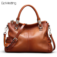 Go Meetting Genuine Leather Women S Handbags Totes Vintage Crossbody Messenger Bags Cow Leather Sprayed Color