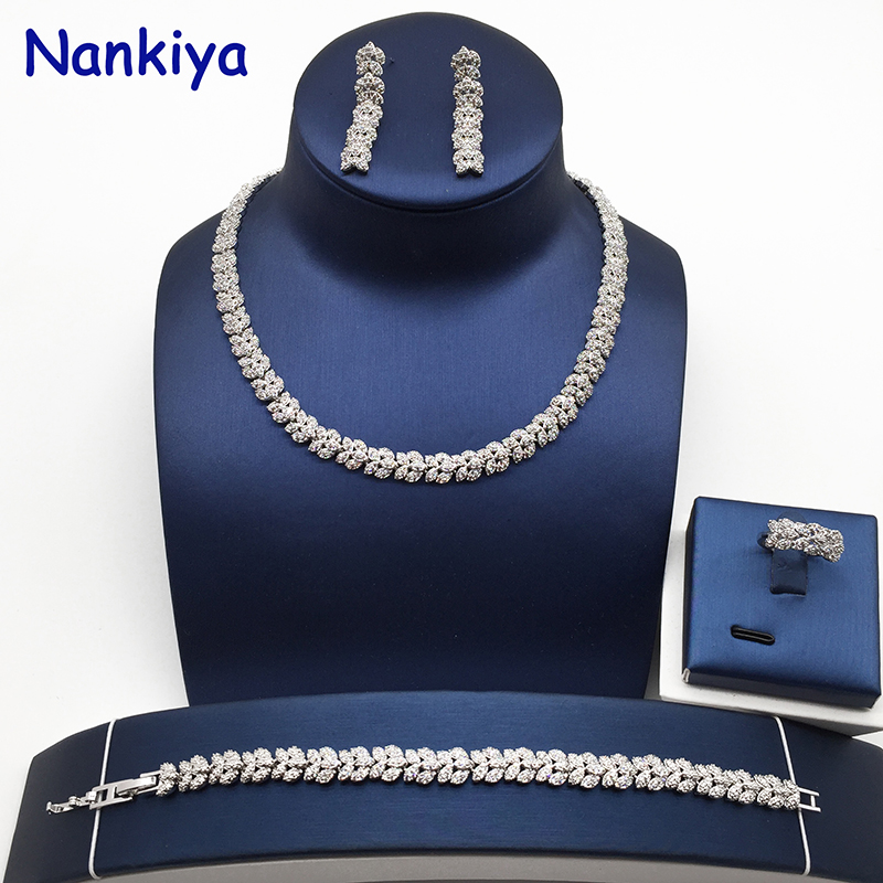 Nankiya Brilliant Flower Jewelry Set 2018 Micro Paved Cubic Zirconia Tennis Wedding Jewelry Sets Bridal Party