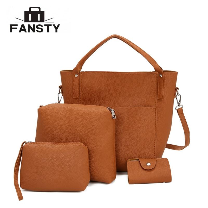 2017 Female New Women Handbags Soft PU Four Piece Bucket Bag  All-match Shoulder Diagonal Package of Western Style Portable Bag