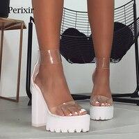 Perixir Women Shoes Fashion PVC Clear Sandals Ankle Strap High Heel Female Sandals Night Club Platform Heels Back Zip Block Heel