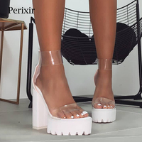 Perixir Women Shoes Fashion PVC Clear Sandals Ankle Strap High Heel Female Sandals Night Club Platform Heels Back Zip Block Heel