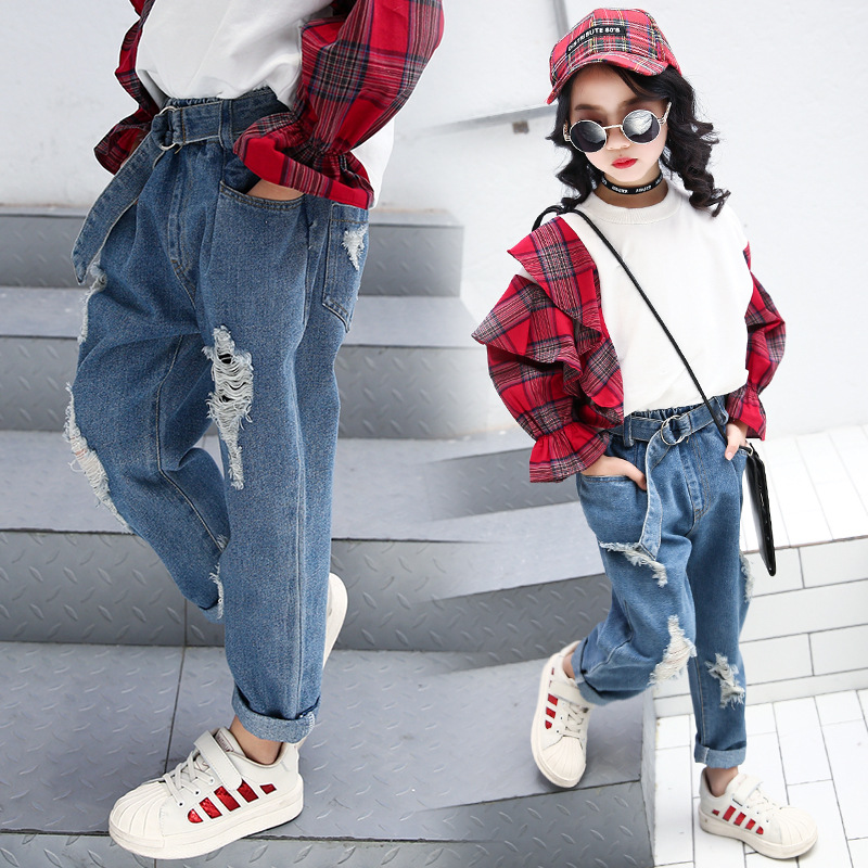 3a40e2758d0 2018 spring teenage girls jeans age 9 10 11 12 loose casual kids costume
