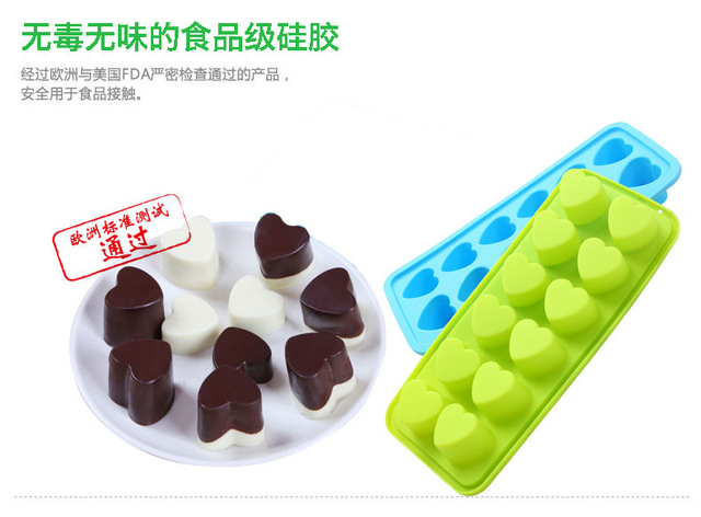 Love Heart Shape Gag Gift Penis Silicone Ice Cube Chocolate Soap Tray Cake  Mold DIY Cake