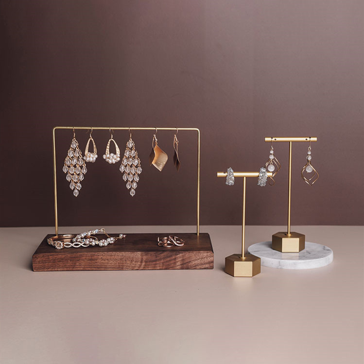 New Fashion Black Walnut Wood Marble Stone Jewelry Display Holder Earrings Chain Necklace Display Stand Earrings Display Rack