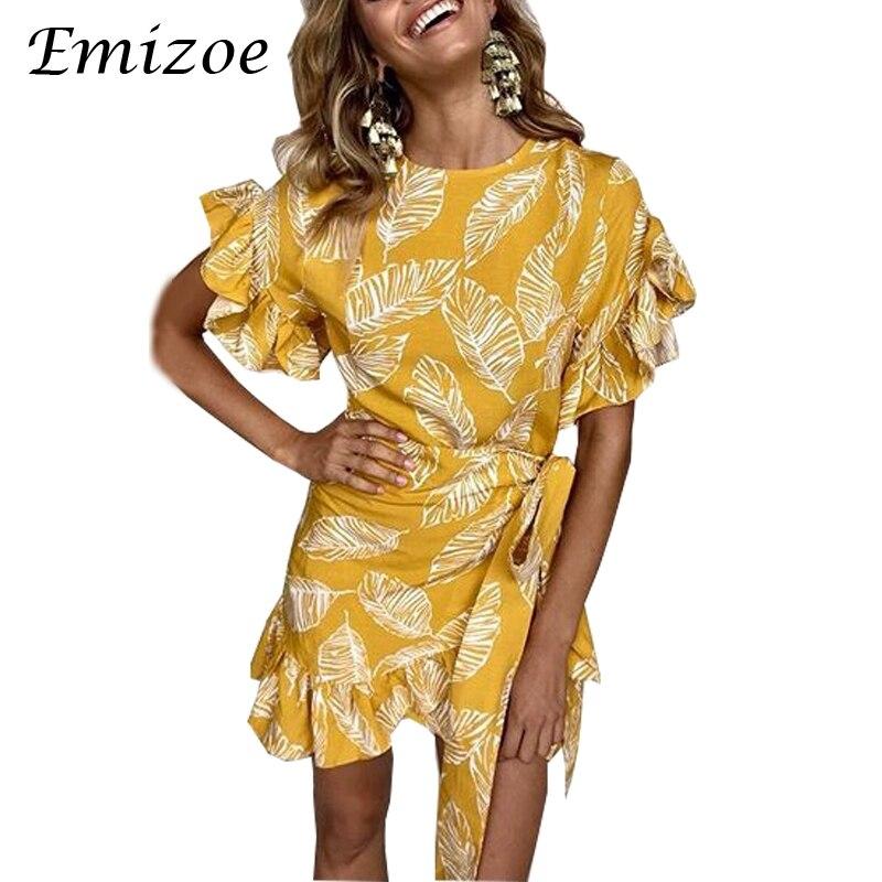 Emizoe Big ruffle print summer wrap dress women 2018 Boho beach female sexy short dresses vestidos Party casual cute dess