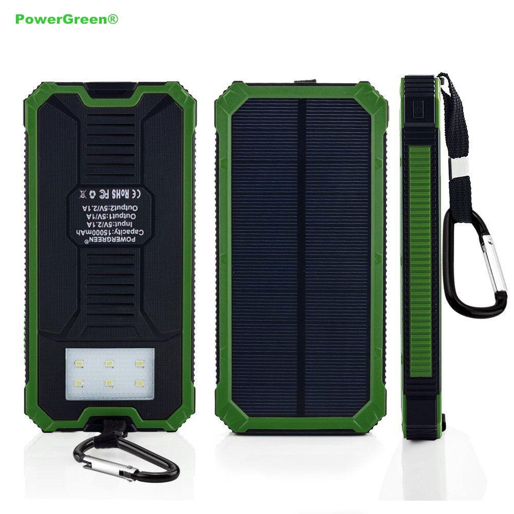 Încărcător solar PowerGreen Baterie reîncărcabilă 15000mAh - Accesorii și piese pentru telefoane mobile